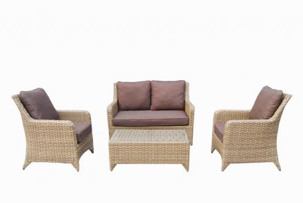 Sarah High back 4 seater sofa set with coffee table in a Natural with Beige cushions